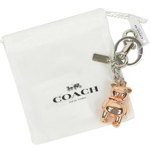 NWT COACH 3D Rose Gold & Silver Tone Plated Bear
